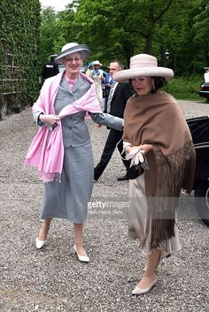 Queen Margrethe II of Denmark and Queen Silvia of Sweden arrive at The museum Ordrupgaard in Charlottenlund, on May 11, 2007 in Copenhagen, Denmark. King Carl XVI Gustaf of Sweden, Queen Silvia of Sweden and Princess Victoria of Sweden are paying a state visit to Denmark of which the main focus will be on the Oresund Conference, where discussions will be held around the possible integration of the labour market of both countries within this region.
