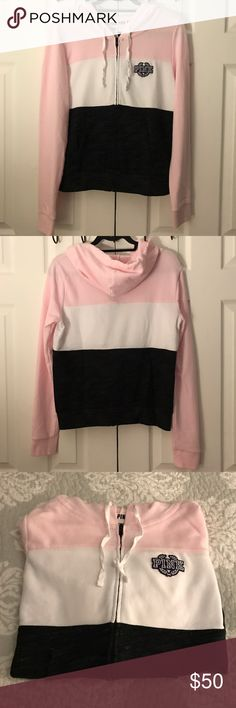 Victoria's Secret Pink Full zip hoodie Size-M Victoria's Secret Pink Full zip hoodie in Size-M,in color-Light pink , white and heatherd black, this hoodie has been worn 1x, did have he leggings to go with them so trying to make a set , this is a beautiful hoodie , if bottoms are found will add it to listing , from smoke free home. PINK Victoria's Secret Tops Sweatshirts & Hoodies