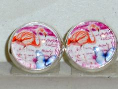 Ohrstecker Flamingo Glas Ohrschmuck ohne Stein Cabochon Modeschmuck Legierung