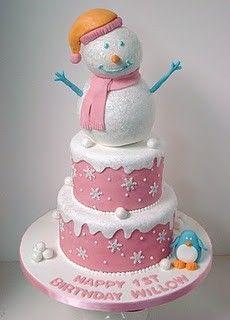 Birthday cake winter-onederland-birthday. January/December baby