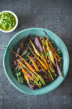 Black rice roasted carrots