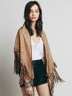 Only One Muche et Muchette Laser Cut Leather Fringed Shawl Left! Available at Festoon at the Firehouse!