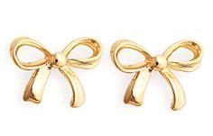 Simple 18k Gold Plated Bow Tie Ribbon Stud Earrings Butterfly Queen's Jewelry #QueensJewelry #DropDangle