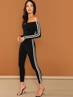 Shop Off Shoulder Striped Skinny Jumpsuit online. SHEIN offers Off Shoulder Striped Skinny Jumpsuit & more to fit your fashionable needs. Cheap Party Dresses, Designer Party Dresses, Party Dresses Online, Latest Fashion Trends, Fashion News, Skinny Waist, Women's Evening Dresses, Jumpers For Women, Lingerie Sleepwear