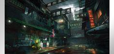 DeviantArt: More Like Cyberpunk by dges Cyberpunk City, Futuristic City, Futuristic Architecture, City Art, Science Fiction, Hong Kong Art, Street Background, Dark City, Japanese Streets