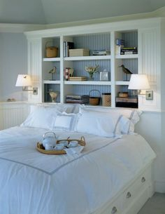 bookshelves as headboard love it
