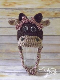 One of the cutest things I've everseen!! Moose Tracks Newborn/Baby Earflap Hat  Made  by YarnOverCrochet, 20.00