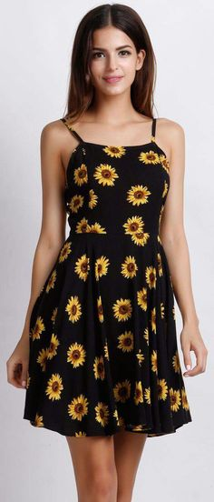 Sunflower Print Spaghetti Strap Mini Dress 23 Super-Cute Dresses You Can Rock Without Breaking The Bank Dress Outfits, Casual Dresses, Short Dresses, Girl Outfits, Summer Outfits, Fashion Dresses, Cute Outfits, Summer Dresses, Cheap Dresses