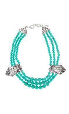 Diamante Deco Three Row Crystal Collar Necklace