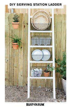 Serve up some smiles with this DIY serving station ladder made with Varathane. Create an outdoor dining area where everything's easily in reach, perfect for dishing out meals and entertaining (and impressing) family and friends. Take a blanket ladder and a can of Rust-Oleum and get started on a project that'll have everyone coming back for seconds. #prideinthemaking #DIY #wood #stain #homedecor #partyplanning #maker Diy Outdoor Furniture, Furniture Projects, Home Projects, Diy Furniture, Repurposed Furniture, Furniture Plans, Diy Ladder, Diy Blanket Ladder, Ladder Decor