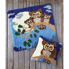 My favorite source for arts and crafts: Night Owls Latch Hook Rug & Pillow Owl Rug, Latch Hook Rug Kits, Rug Yarn, Rug Inspiration, Crotchet Patterns, Pillow Forms, Crafty Craft, Rug Hooking, Crochet Crafts