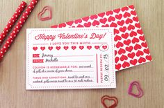 Printable Valentine's Day Coupons | submitted to InspirationDIY.com