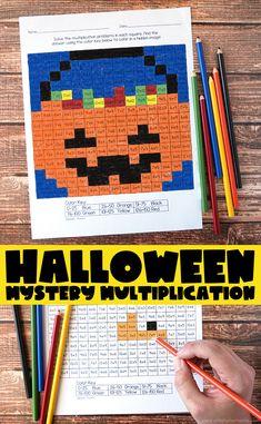 Free Printable Halloween Mystery Multiplication Worksheets