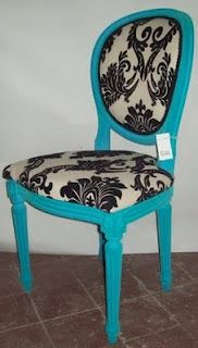 turquoise damask chair... don't like fabric, but chair is great