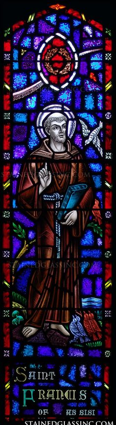 """""""Francis of Assisi"""" Religious Stained Glass Window"""