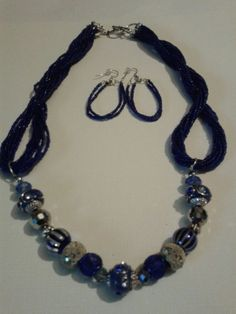The Sand And The Ocean Handmade Blue seed with glass & metal beads Necklace Set #Handmade