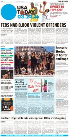 "#20160324 #USA #USAnews #USATODAY #USATODAYnewspaper20160324 Thursday MAR 24th 2016 http://en.kiosko.net/us/2016-03-24/np/usa_today.html + http://www.usatoday.com/ + https://www.facebook.com/usatoday/?fref=ts + #5ThingsYouNeedToKnow ""5 Things You Need To Know"" THURSDAY http://www.usatoday.com/story/news/2016/03/24/5-things-you-need-know-thursday/81973314/"