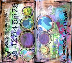 Art journal page - pretty colors and nice collection of pages here