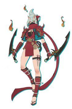 Female Character Design, Character Concept, Character Art, Concept Art, Oni Demon, Demon Art, Color Script, Oni Art, Oni Samurai