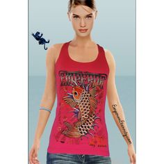 tattoo tank top singlet in red with rhinestones by emperor eternity