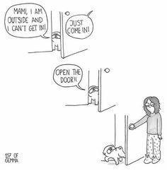 I've seen dogs opening doors but for some reason Mochi is completely unable to get through a door unless it is wide open. Even when he could perfectly squeeze through it because he only neede… Pug Love, I Love Dogs, Pug Breed, Pug Illustration, Pug Cartoon, Pet Pug, Dog Comics, Pug Art, Cute Pugs