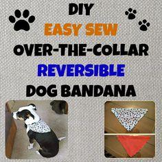 Easy Sew, Over-The-Collar, Reversible Dog Bandana Dog Crafts, Animal Crafts, Animal Projects, Dog Bandana, Bandana Ideas, Pet Clothes, Dog Clothing, Diy Stuffed Animals, Dog Accessories