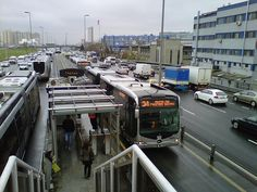 Bus Rapid Transit (BRT) in Istanbul, Turkey.