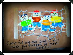 """Fishers of Men"" Bible Craft (a good one that includes fishing for _men_ and not fish!)"