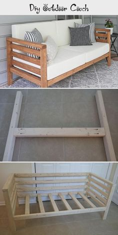 DIY outdoor sofa - The best - Modern Design Diy Wood Projects, Furniture Projects, Home Projects, Diy Furniture Couch, Diy Outdoor Furniture, Bois Diy, Outdoor Couch, Diy Home Improvement, Diy Home Decor