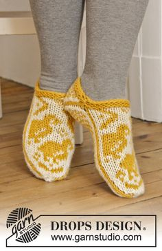 #DROPSDesign #Easter: Knitted slippers with chicken in Norwegian pattern. #FreePattern now available