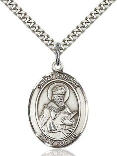 """St. Isidore Of Seville Sterling Silver 1"""""""