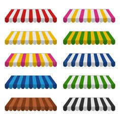 Awnings set isolated on white background. Striped colorful sunshade for shops stock illustration Outside Canopy, Book Nooks, Outdoor Blanket, Kids Rugs, Illustration, Shopping, Shops, Colorful, Memphis Design
