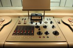"""The studio mixer console was built by the company """"Telefunken"""", to deliver announcements in broadcast quality from the inside of the shelter to the public."""