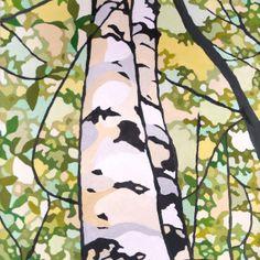 """Happy Birch"" – premium stretched canvas print"