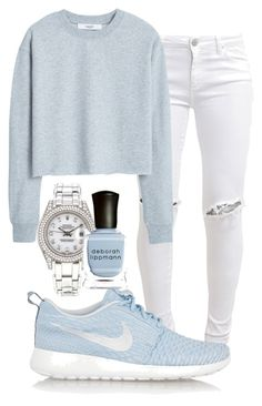 """""""Untitled #42"""" by mira-alsina ❤ liked on Polyvore featuring FiveUnits, MANGO, NIKE, Rolex and Deborah Lippmann"""