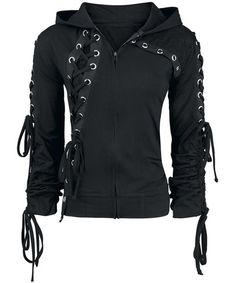 Fashionable Hooded Lace-Up Long Sleeve Black Hoodie For Women