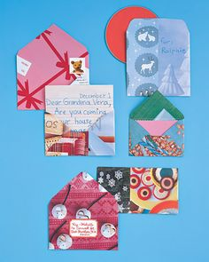 Envelopes Made from Wrapping Paper or Magazine Pages | 49 Awesome DIY Holiday Cards