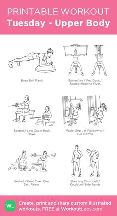 - Upper Body – illustrated exercise plan created at . -Tuesday - Upper Body – illustrated exercise plan created at . - The Best Workouts Programs: Weight Free Total Workout - Full Body Bodyweight Workout Planet Fitness Workout Plan, Gym Workout Plan For Women, Gym Workout For Beginners, Gym Workouts Women, Workout Plans, Gym Routine Women, Work Out Routines Gym, Woman Workout, Weight Machine Workout