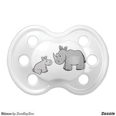 "Rhinos Pacifier - Click through to Zazzle and use the ""customize"" and/or ""personalize"" options to tweek my design and make it perfect for you, if needed. Zazzle always has sales going on too! Boy Pacifier, Binky, Baby Cartoon, Cute Cartoon, Baby Shower Gifts, Baby Gifts, Baby Rhino, Personalized Baby Clothes, Baby Shark"