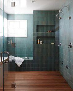 Best Master Bathroom Design Ideas For Your Big Home . modern green tile and wood slat floor in large master bathroom shower modern shaker beach house tour on coco kelley Master Bathroom Shower, Bathroom Renos, Small Bathroom, Bathroom Ideas, Bathroom Plans, Remodled Bathrooms, Serene Bathroom, Bathroom Niche, Colorful Bathroom