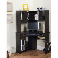 Morgan Corner Computer Desk and Hutch, Black Oak  Love this in the corner!