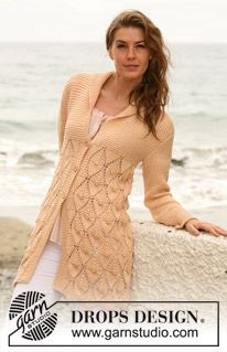 """Knitted DROPS jacket with lace pattern and shawl collar in """"Paris"""". Size S-XXXL. ~ DROPS Design"""