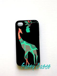 iphone cases | iPhone 4 / 4S Case Patchwork Giraffe in Mint and Coral Apple iPhone ...