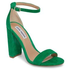 Women's Steve Madden Carrson Sandal (€73) ❤ liked on Polyvore featuring shoes, sandals, green suede, suede sandals, chunky heel sandals, green sandals, thick heel sandals and green suede sandals