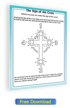 Sign of the Cross activity page for Catholic children.
