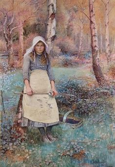 Charles Edward Wilson Young girl picking woodland flowers 1886