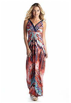 New Directions® Aztec Print Maxi Dress