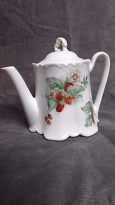 Vintage Hand Painted Ceramic Tea Pot Pitcher Strawberries with Lid