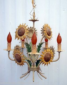 Vintage Mid Century Metal Sunflowers Hanging Lamp Chandelier Exceptional | eBay