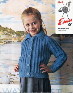 """childrens collared jacket knitting pattern pdf childs cardigan with collar 22-29"""" aran worsted 10ply pdf instant download by Minihobo on Etsy"""